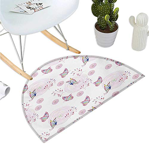 Butterfly Semicircular Cushion Butterflies and Branches Romantic Spring Retro Faith Optimism Change Fly Theme Entry Door Mat H 19.7