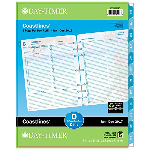 Acco Day-Timer Daily Planner Refill 2017, Two Page Per Da...