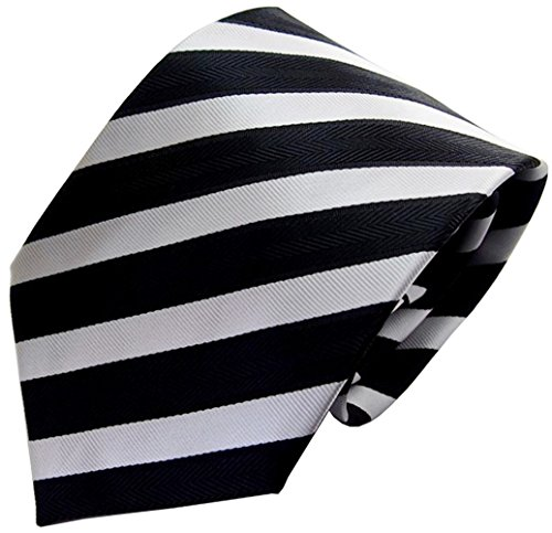 Secdtie Men's Classic Striped Black And White Woven Silk Tie Microfiber ()