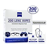 Zeiss Pre-Moistened Lens Cleaning Wipes - Cleans Bacteria, Germs and without Streaks for Eyeglasses and Sunglasses-(200 Count)