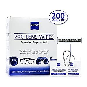 Zeiss Pre-Moistened Lens Cleaning Wipes - Cleans Bacteria, Germs and without Streaks for Eyeglasses and Sunglasses-(225 Count)