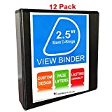 3 Ring Binder, 2.5''D Rings, Black, 12 Pack, Clear View, Pockets (3.2'' Spine)