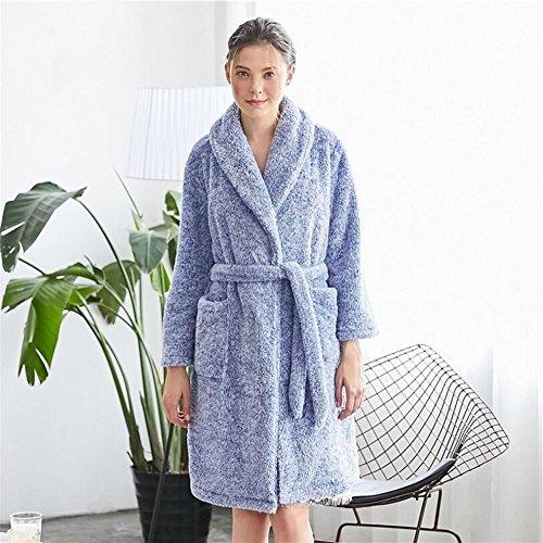 e da Grey per accappatoio Dimensione Pettorina Blu Accappatoio notte OHlive Camicia caldo da L donna morbido Colore 1AOAvq05