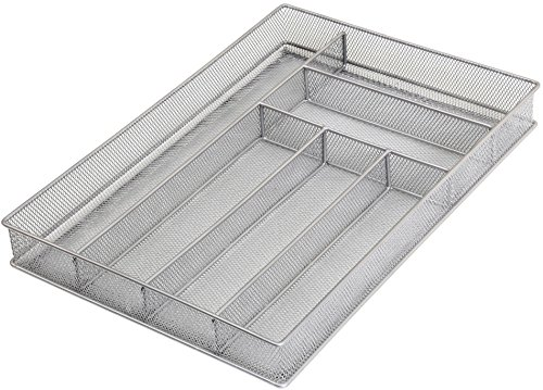 Ybm Home Silver Mesh Cutlery Holder In-drawer Utensil Flatware Organizer/tray Size 16 By 11-1/4 By 2 Inches 1132 (6-compartment Large) by YBM HOME (Image #2)