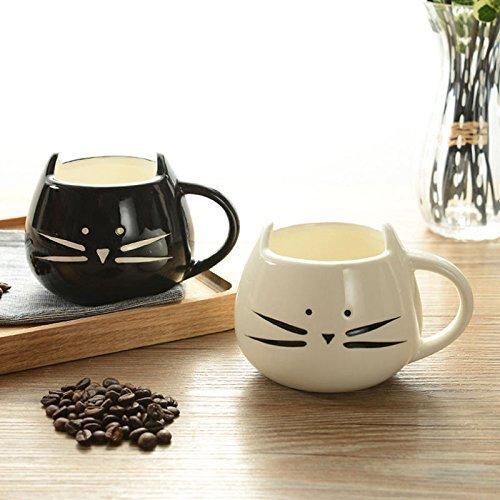 Coffee Mugs 2PC Cute Black White Cat Shape Coffee Milk Tea Ceramic Mug Cup Couple Gifts