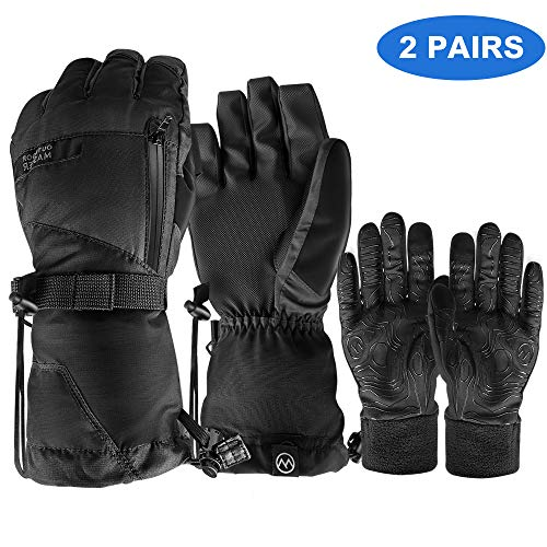 OutdoorMaster Ski Gloves - Waterproof Ski and Snowboard Gloves with Non-Slip Rubber Palms, Removable Liners & Zipper Pocket - for Men - Black, L