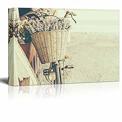 Canvas Prints Wall Art - Vintage Bicycle with Flower - Vintage Effect Filter Style Pictures - 24
