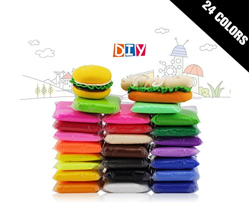 - 24 PCS BeautyMood Colorful Kids Ultra Light Modeling Clay Magic Air Dry Clay Artist Studio Toy 24 Bright Color,24 Colors No-Toxic Modeling Clay & Dough, Creative Art DIY Crafts.