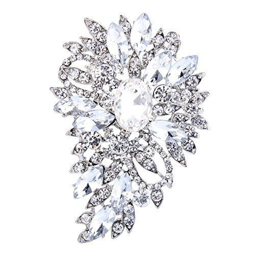 Crystal Faux Brooch - EVER FAITH Women's Austrian Crystal Wedding Flower Leaf Bouquet Brooch Clear Silver-Tone