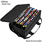 ADVcer Marker Case 120 Storage Holders, Foldable Extendable Oxford Organizer with Carrying Handle, Shoulder Strap, QR Buckle for Copic Marker, Prismacolor Marker, Dry Erase Color Paint Markers, Black