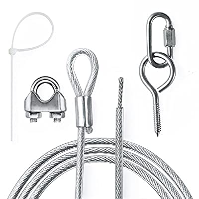 SUNTHIN 60Ft Outdoor String Light Suspension Hanging Kit Outdoor Light Guide Wire Galvanized Steel Cable Zip Ties Turn Buckles Wire Crimp Screw Hooks Include : Garden & Outdoor