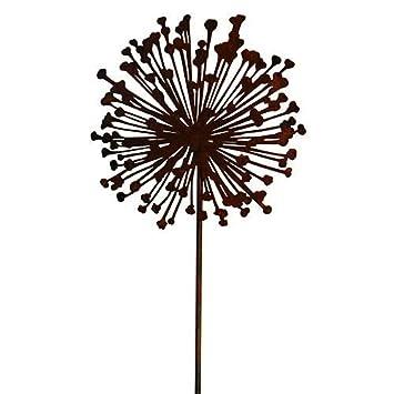 Rost - Gartenstecker Allium - D30cm / H135cm - Blume am Stab ...
