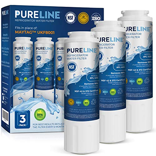 Line Water Filter Cartridge - Maytag UKF8001 Water Filter Replacement. Compatible with Maytag UKF8001, UKF8001P, EDR4RXD1, EveryDrop Filter 4, PUR 4396395 Puriclean II, UKF8001AXX-200, 469006, and More. - PURELINE (3 Pack)