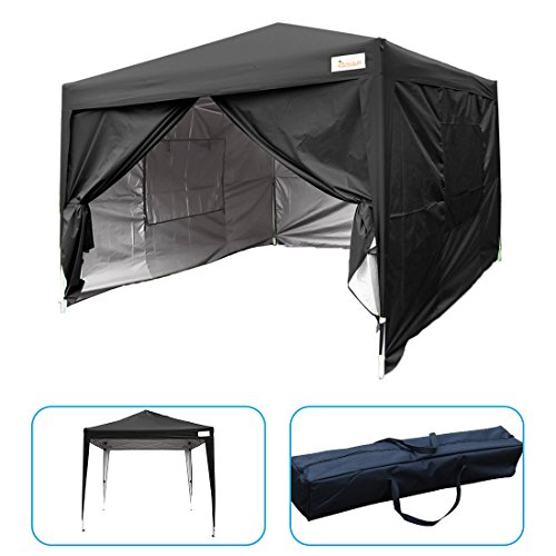 KING BIRD 10 x 10 ft Easy Pop up Canopy Waterproof Party Tent with 4 Removable Walls Mesh Windows Carry Bag Black