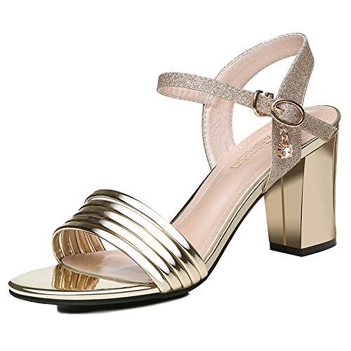 Femme Talon Soirée Sandales Talons Gold Orteil The Femmes Dew Haut Hauts Escarpins Chaussures Chaussures HUAIHAIZ de 5HqCwBH