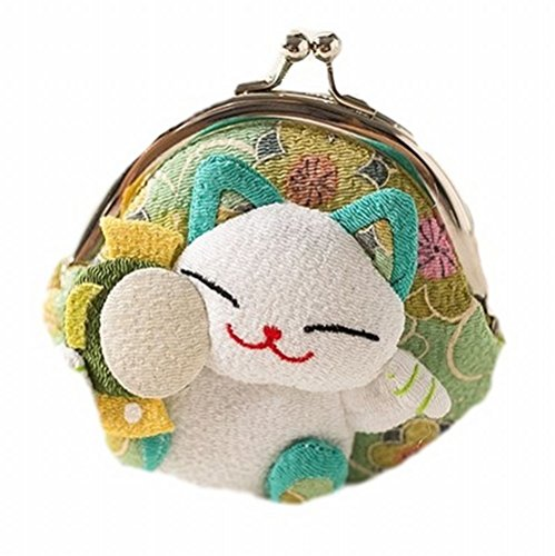 POJ Japanese Style Coin Purse [Green / Yellow / Pink / Blue ] Lucky Cat (Manekineko) Pattern Cosplay Goods (Diy Group Halloween Costume Ideas)