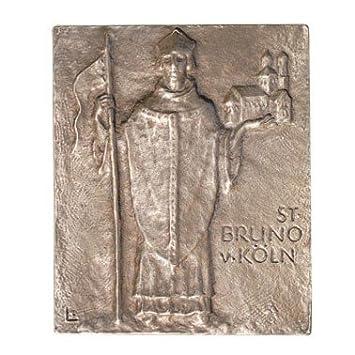 Bronce Relief Santo Bruno de Colonia, 13 x 10 cm