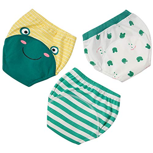 3Pcs Baby Potty Training Pants Toddler Boys 6 Layered Absorbent Nappy Underwear(Frog,4T)