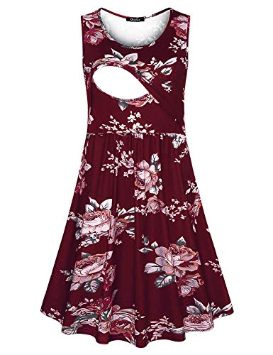 Quinee Plus Size Nursing Dress, Women Summer Sleeveless Scoop Neck Daily Casual High Waist Mother Floral Printed Breastfeeding Maternity Tunic Tank Dresses for Pregnancy Wine Red M