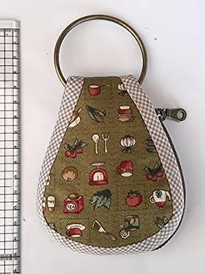 GaanZalive36 Cotton Silk Car key Chain Bag Wallet 1 Zipper W/Metal 2inches Round Ring, Key Cover Car Keychain Tags Chains Pendant Coin Handbag Case Bag Pouch Purse