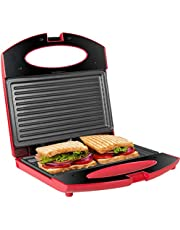 Gotoll Sandwichmaker, sandwich- & paninitoaster, contactgrill met anti-slip voeten, toastplaat voor sandwichtoaster, anti-aanbaklaag, tafelgrill, controlelampje
