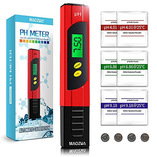 MAOZUA Automatic Calibration PH Meter ATC Function Water Quality Tester with Backlit LCD Display 6 Set of PH Buffer Powder,±0.01pH High Accuracy,0.00-14.00 Measurement Range and 0.01 Resolution Measure for Household Drinking Water Hydroponic Aquarium Spa Pool (Red)