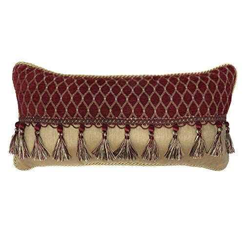 Croscill Roena Boudoir Pillow Burgundy [並行輸入品] B07R973MNF