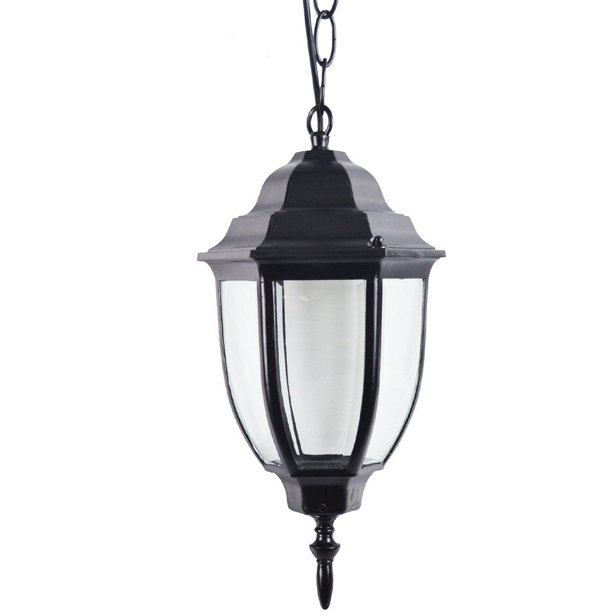ZHMA Retro Garden Pendant Light, Hanging Lantern, E26/E27 Landscape Lighting Fixtures Aluminum Glass Porch,Villa, Balcony,Fence, Decora Light