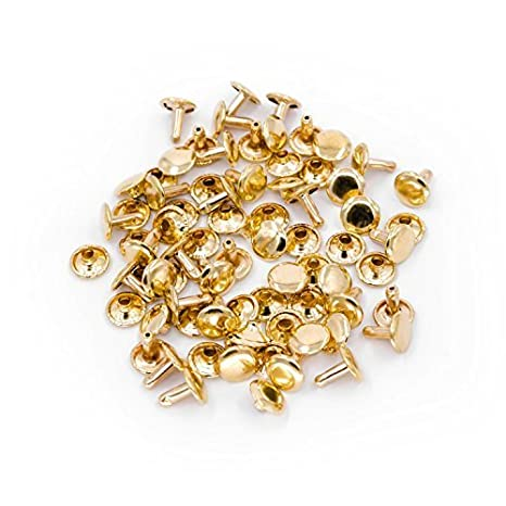 Trimming Shop 100 x 6MM Two Piece Double Cap Tubular Rivets for Leather Craft and Clothing Repair