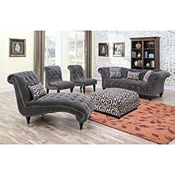 Emerald Home Hutton II Thunder Bella Gray Sofa, with Pillows, Button Tufting, Nailhead Trim, And Turned Legs