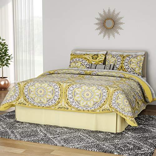 UKN 9pc Yellow Medallion Comforter Queen Set, Floral Paisley Mandala Motif Themed, Damask Flower Pattern Design, Bohemian Boho Chic Bedding, Grey Golden Light Gray
