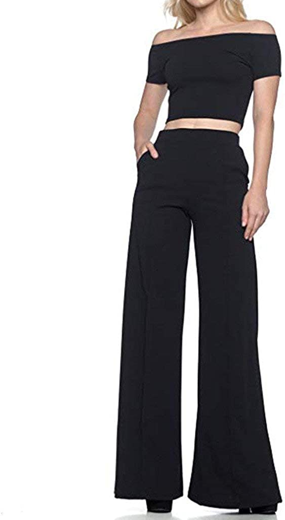 Womens Flare Pants High Waist Elastic Waist Fashion Trousers Loose Pleated Solid Wide Leg Pants with Pockets
