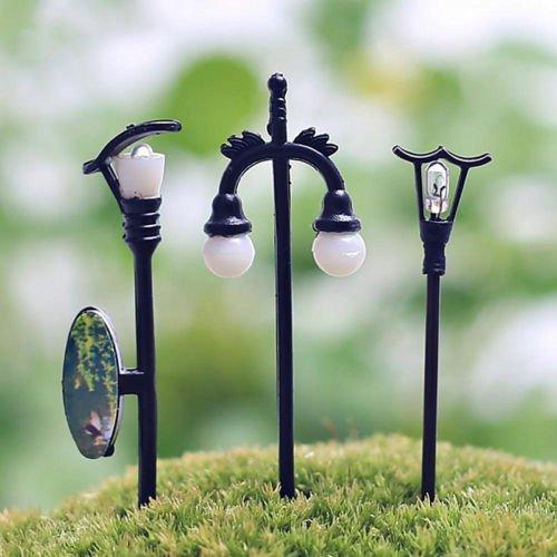 diansts (TM) adorno de jardín Decoración de hadas Dollhouse miniatura Streetlight Craft Plant Pot 5Pcs