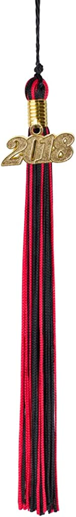 Black and Red Graduation Tassel Year 2018 with gold charm MultiColor