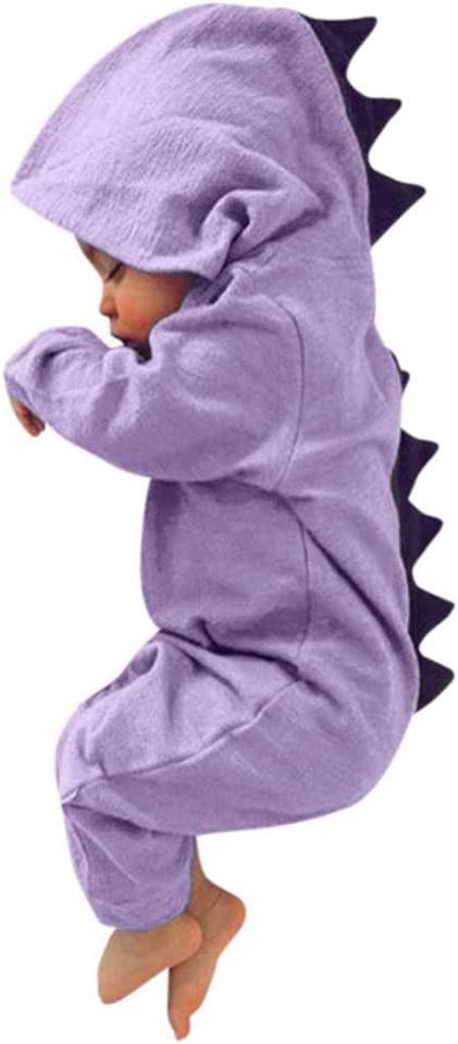 Newborn Toddler Baby Boy Girls Dinosaur Hooded Romper Jumpsuit Clothes Outfit