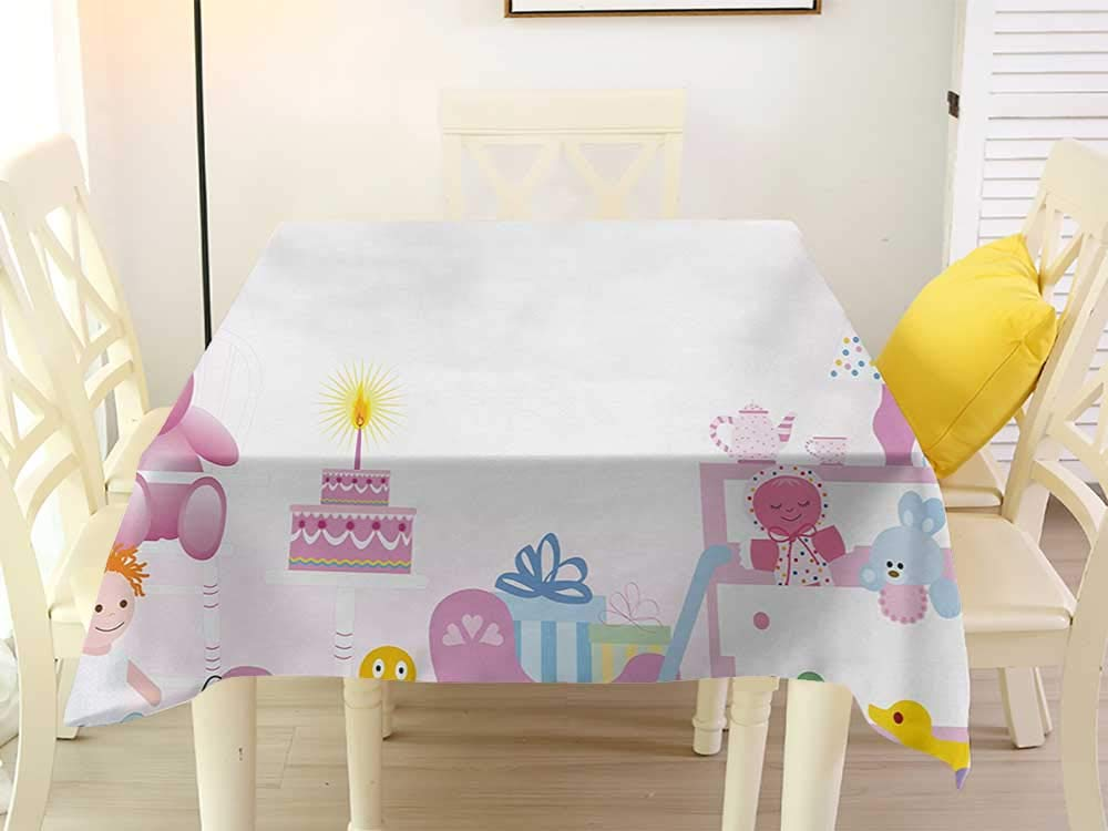 L'sWOW Anti-Lost Square Tablecloth Kids Birthday Baby Girl Birthday Celebration Party with Flags and Bears Cute Toys Print Pale Pink Tablecloth 70 x 70 Inch