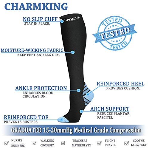 2c817246582 ... CHARMKING Compression Socks 15-20 mmHg is BEST Graduated Athletic    Medical for Men ...