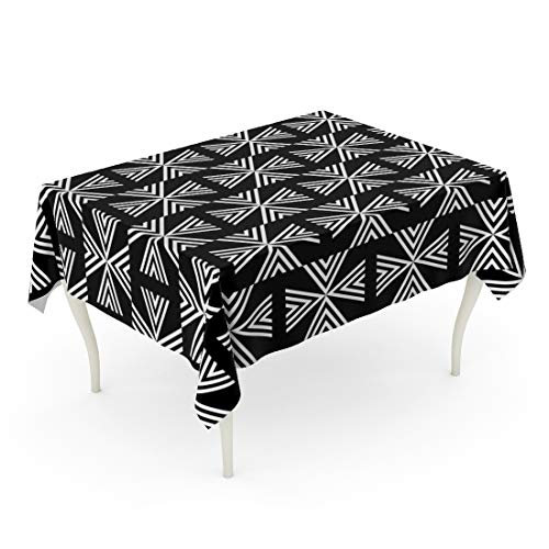 (Semtomn Decorative Tablecloth Waterproof Printed Polyester Water Resistant Oil-Proof Mexico with Navajo Pattern Abstract Antique Arrow Aztec Black Block Chevrons Rectangle Table Cloth 60 x 90 Inch)