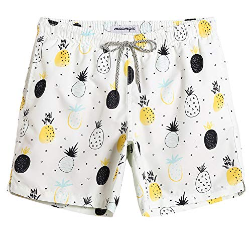 (MaaMgic Mens Summer Swim Trunks Pinapple Printed Board Shorts Quick Dry Swim Suit with Pocket Mesh Lining Funny Pinapple XL)