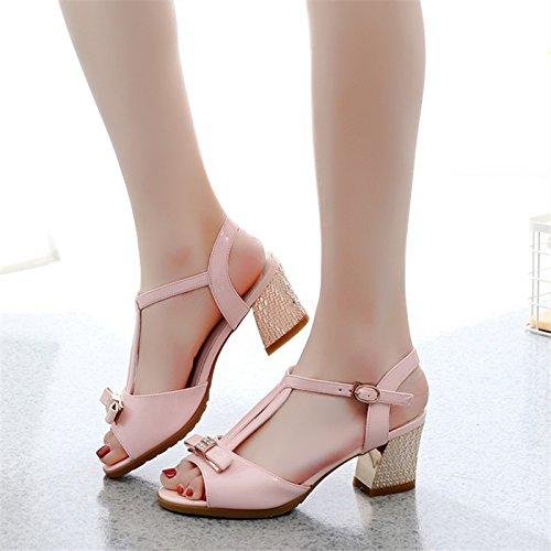 ruvido trentotto rosa i in femmina GTVERNH scarpe la di delle estate sandali arco cuoio 5 moda 8cm la scarpe primavera tacchi gpnwCqwH