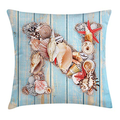 Letter N Throw Pillow Cushion Cover, Oceanic Invertebrates Alphabet ABC Marine Shells and Starfishes, Decorative Square Accent Pillow Case, 18 X 18 Inches, Pale Blue Ivory Dark -