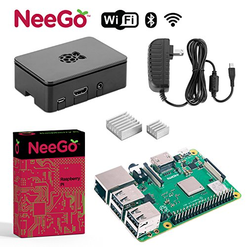 NeeGo Raspberry Pi 3 B+ (B Plus) Basic Kit Pi Barebones Computer Motherboard with 64bit Quad Core CPU & 1GB RAM, Black Pi3 Case, 2.5A Power Supply & Heatsink 2-Pack by NeeGo