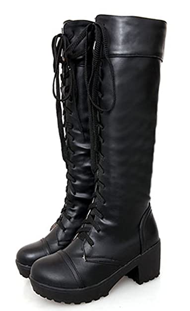 d52dc10aa7a25 Aisun Women s Lace Up Low Heeled Knee High Chunky Boots Black 4 B(M)