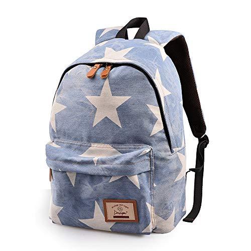 Epokris Teen Girls School Bookbag Rucksack Casual Daypack Floral Backpack 320 white star