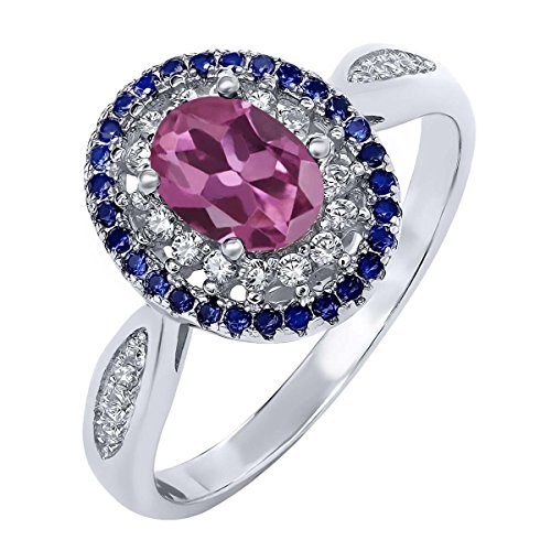 1.45 Ct Oval Pink Tourmaline 925 Sterling Silver Women's Ring (Available in size 5, 6, 7, 8, 9) (Pink Gem Ring compare prices)