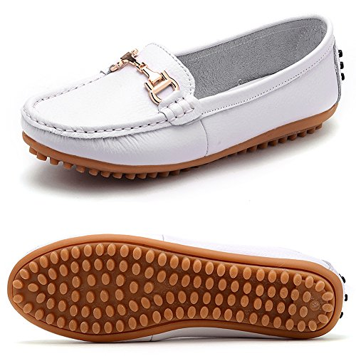 Loafer Flat Shoes Ladies Summer Women Moccasins Driving ODEMA Slip White On zw0Y1xSq5