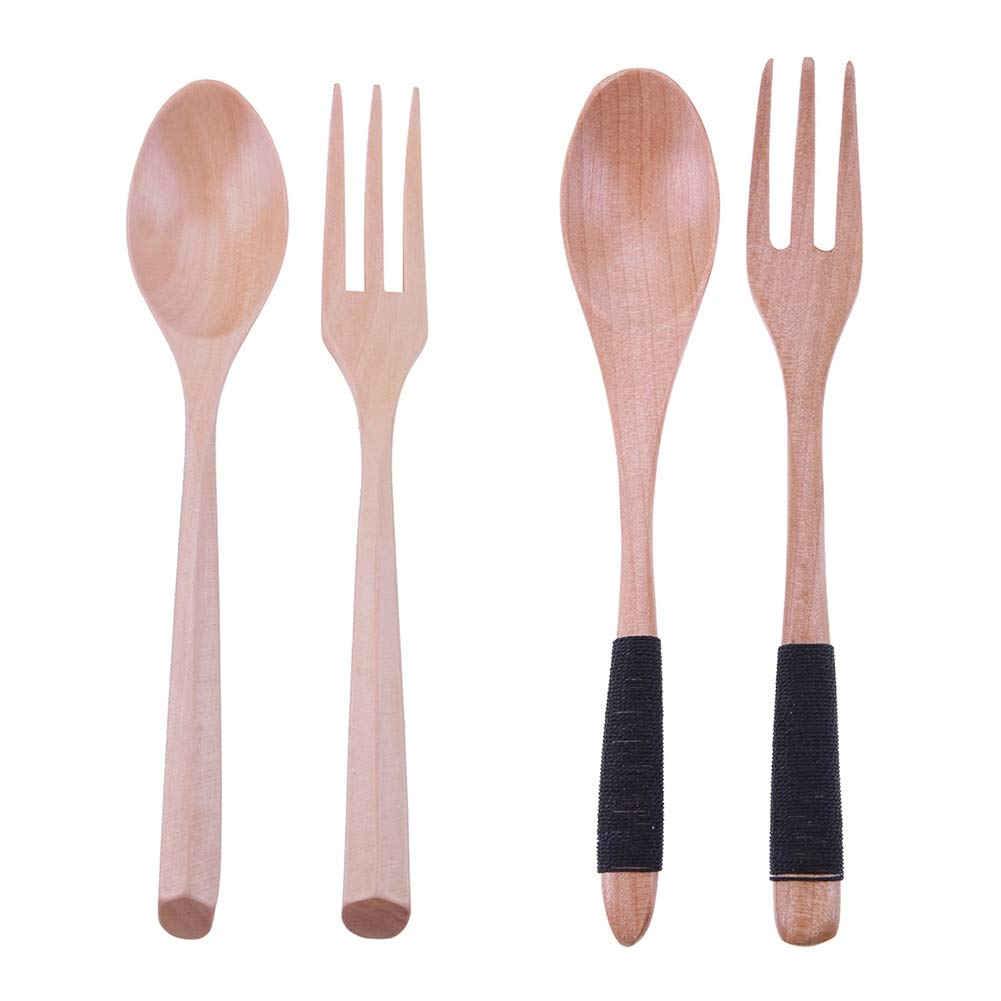 Uniqus Japanese Style Dinnerware Set Long Handle Wooden Fork Scoop Cutlery Set Teaspoon Salad Fork Kitchen Utensil Outdoor Tableware