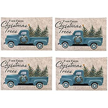 Newbridge Rustic Cabin and Lodge Evergreen Dreams Christmas Fabric Holiday Placemats - Deer, Cabin and Farm Truck Winter Scene Print Placemats, Set of 4 Placemats