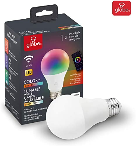 Globe Electric Wi-Fi Smart 10 Watt 60W Equivalent Multicolor Changing RGB Tunable White Frosted LED Light Bulb