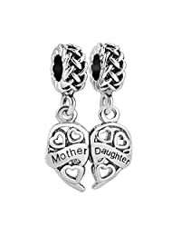 Charmed Craft Mother Daughter Charms Heart Love Dangle Charm Celtic Knot Beads Fit Pandora Bracelet Jewelry Gifts